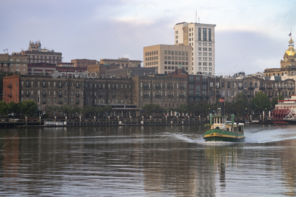 An Empty Ferry Boat Moves on Schedule Crossing the River in Savannah - Stock Photo - Images