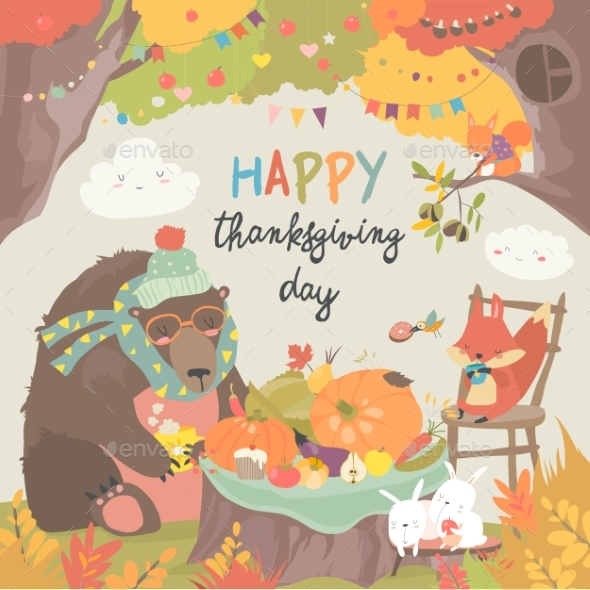 Animals Celebrating Thanksgiving Day - Animals Characters