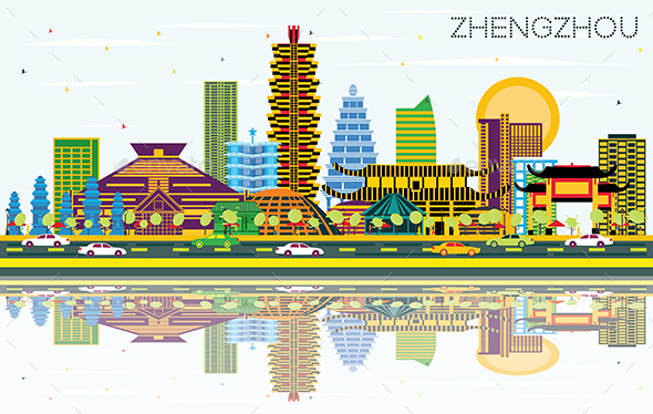 Zhengzhou China City Skyline with Color Buildings - Buildings Objects