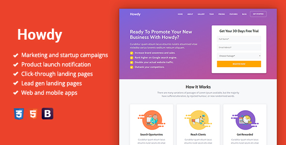 Howdy - Multipurpose High-Converting Landing Page Template by Epic-Themes