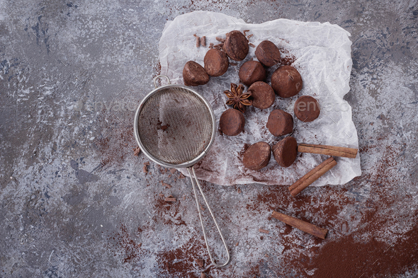 Home made chocolate truffles - Stock Photo - Images