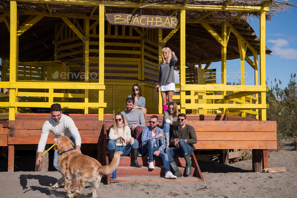 Group of friends having fun on autumn day at beach - Stock Photo - Images