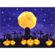 Halloween Night with Pumpkins on Cemetery and Moon on Blue Sky Background - GraphicRiver Item for Sale