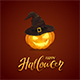 Halloween Pumpkin with Black Witch Hat on Dark Background - GraphicRiver Item for Sale