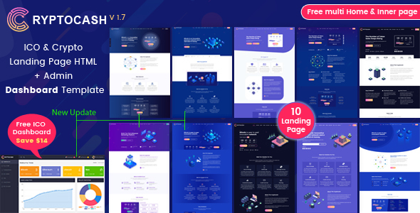 Cryptocash – ICO & Cryptocurrency Landing Page HTML Template