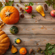 Thanksgiving flat lay with colorful pumpkins, fruits and fall leaves  - PhotoDune Item for Sale