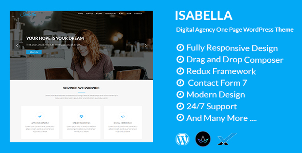 Isabella – Digital Agency One Page WordPress Theme