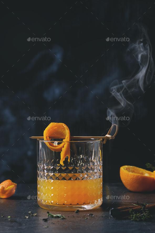 Whiskey orange Cocktail - Stock Photo - Images