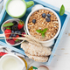 Healthy breakfast set with muesli, berries and milk - PhotoDune Item for Sale