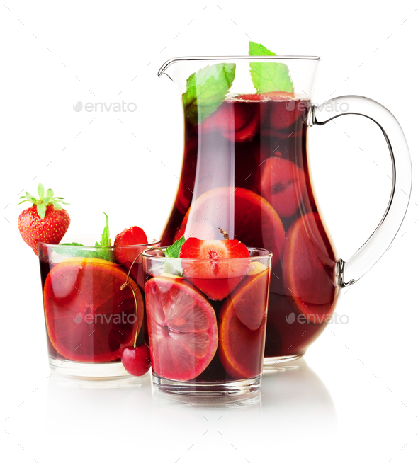Sangria jug and two glasses - Stock Photo - Images
