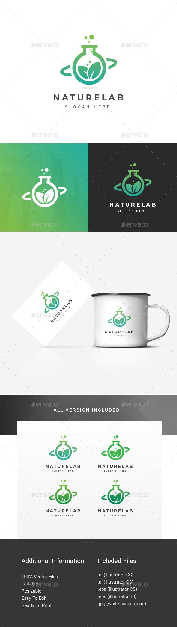 Nature Green Lab Logo - Nature Logo Templates