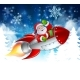 Santa in Rocket Christmas Cartoon