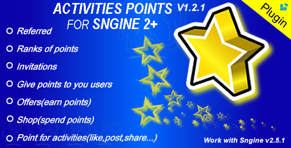 Plugin Activities Points For Sngine - CodeCanyon Item for Sale