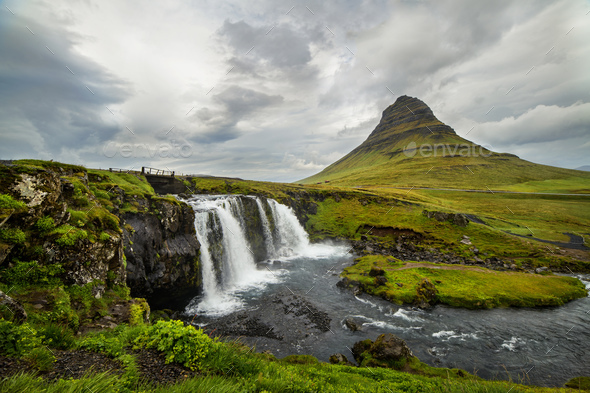 Kirkjufell waterfall and mountain, an Iceland landscape. - Stock Photo - Images
