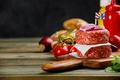 Homemade hamburgers on wooden table - PhotoDune Item for Sale