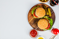 Homemade hamburgers, flat lay - PhotoDune Item for Sale