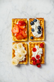 Traditional belgian waffles with whipped cream and fresh fruits - PhotoDune Item for Sale