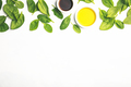 Olive oil, vinegar and fresh spinach, top view - PhotoDune Item for Sale