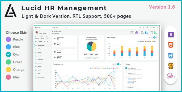 Lucid - HR and Project Management Admin Template - Admin Templates Site Templates