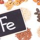Inscription Fe and healthy food containing iron, vitamins, minerals and dietary fiber - PhotoDune Item for Sale