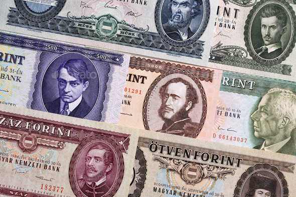 Hungarian Forint, a background  - Stock Photo - Images