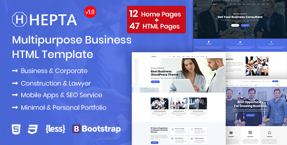 Hepta Multipurpose Business Html Template By Rs Theme Themeforest