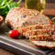 Tasty homemade ground  baked turkey meatloaf on wooden table. Food american meat loaf. - PhotoDune Item for Sale