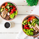 Buddha bowl dish with chicken fillet, quinoa, avocado, sweet pepper, tomato, cucumber, radish - PhotoDune Item for Sale