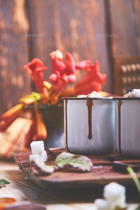 Hot chocolate with marshmallow candies on wooden background. - Stock Photo - Images