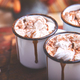 Hot chocolate with marshmallow candies on wooden background. - PhotoDune Item for Sale