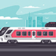 Train Rushing Out of City in Long Way - GraphicRiver Item for Sale