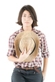 woman in a plaid shirt posing in studio on white-9 - PhotoDune Item for Sale