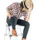 woman in a plaid shirt posing in studio on white-13 - PhotoDune Item for Sale
