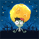 Zombie on Night Halloween Background with Moon - GraphicRiver Item for Sale