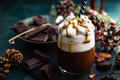 Hot chocolate with whipped cream. Chocolate drink and Christmas decorations - PhotoDune Item for Sale