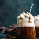 Hot chocolate with whipped cream. Chocolate dessert drink in glass - PhotoDune Item for Sale