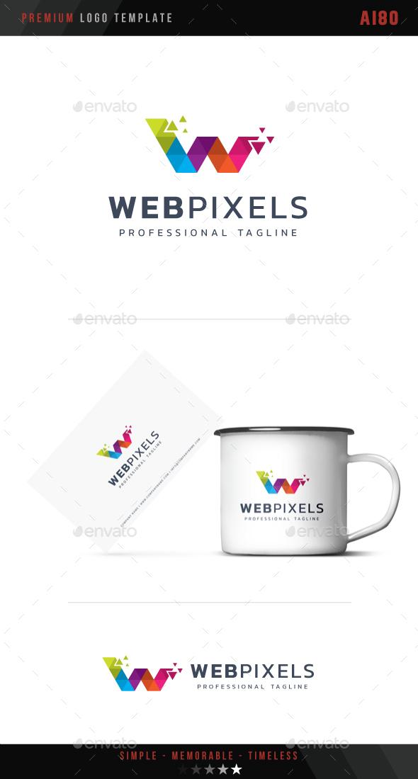 Letter W - Web Pixels Logo - Letters Logo Templates