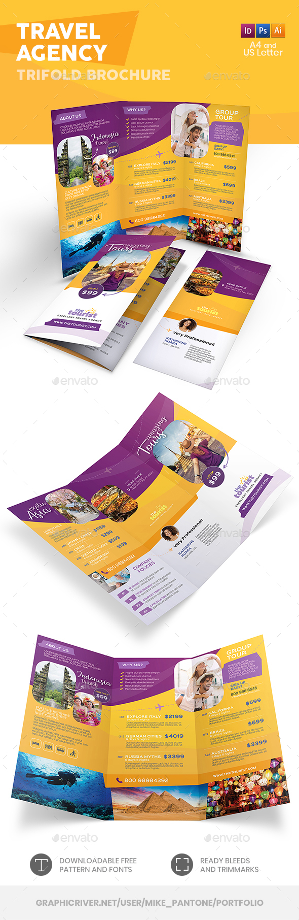 Travel Agency Trifold Brochure 4 by Mike_pantone | GraphicRiver
