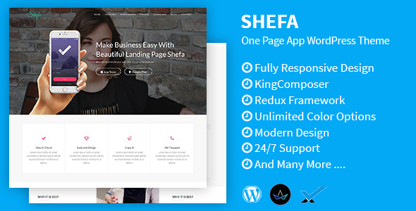 Shefa - One Page App WordPress Theme - Software Technology