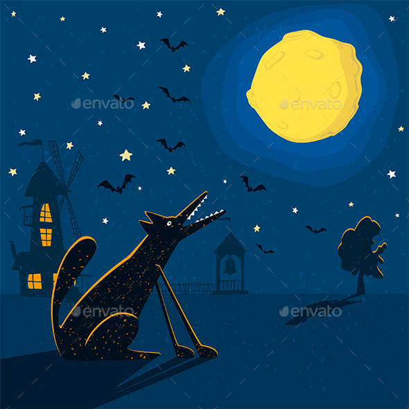 Wolf with Moon - Animals Characters