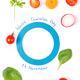 Blue circle of paper as symbol of fighting diabetes and fresh vegetables - PhotoDune Item for Sale
