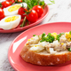 Slice of baguette with fish paste, egg, tomato and radish - PhotoDune Item for Sale