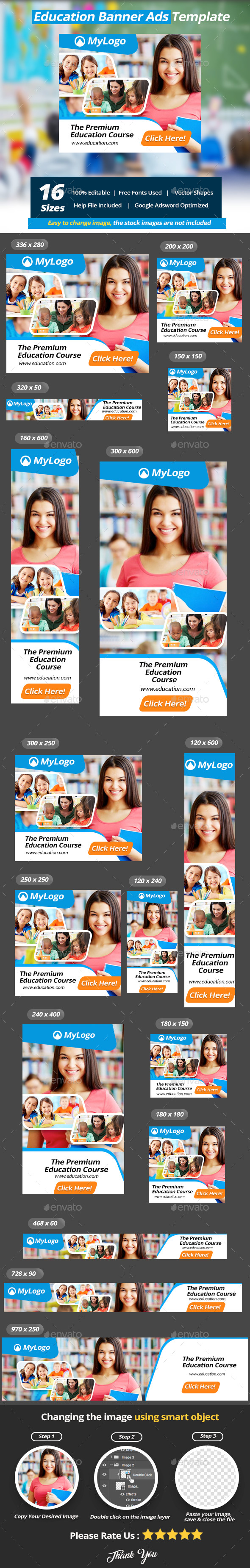 Education Banner Ads Templates - Banners & Ads Web Elements