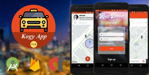 Kogy - A Complete UBER Clone with User,Driver & Firebase Backend with Native Android            Nulled