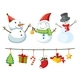 Christmas Theme With Snowman And Ornaments - GraphicRiver Item for Sale