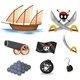 Pirate Set With Sailboat And Weapons
