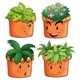 Flower Pots With Different Types Of Plants - GraphicRiver Item for Sale