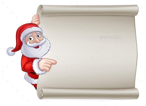 Christmas Santa Claus Cartoon Sign - Christmas Seasons/Holidays