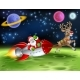 Santa Claus Rocket Sleigh Space Christmas Cartoon - GraphicRiver Item for Sale