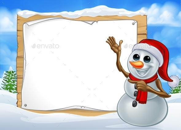 Snowman Christmas Cartoon Character Sign - Christmas Seasons/Holidays